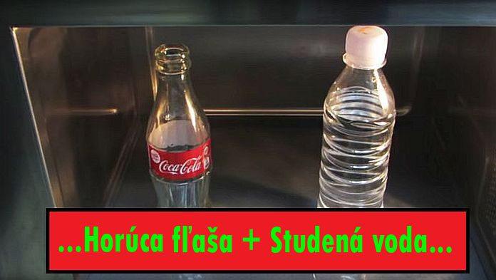 Horúca fľaša v studenej vode