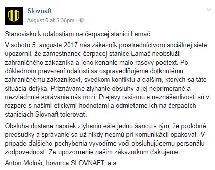 Reakcia Slovnaftu