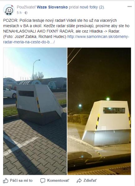 nový radar na cestách