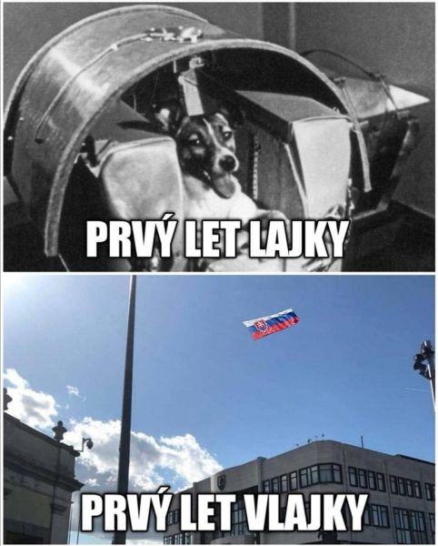 Lajka a vlajka.