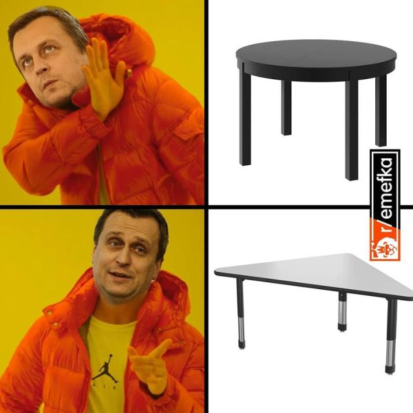 Ostrouhlý stôl meme.