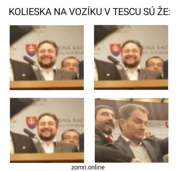 Meme Matovič kolieska v Tescu.