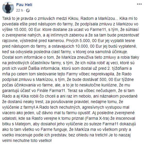 Pau Heli status o praktikách televízie