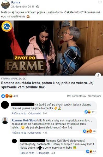 Romana a Iveta Farma komentár