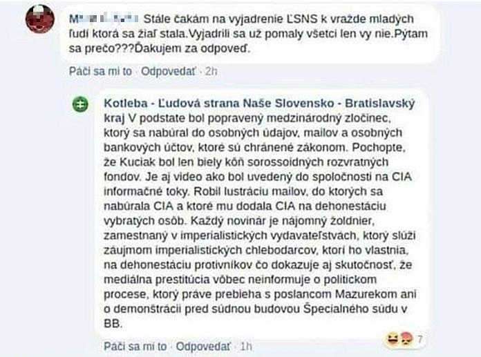 Komentár ĽSNS Kuciak